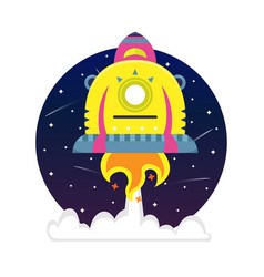 Flat bright cartoon spaceship in a starry sky vector