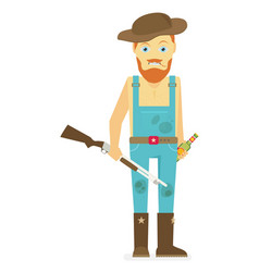 Flat cartoon redneck with a rifle and beer vector