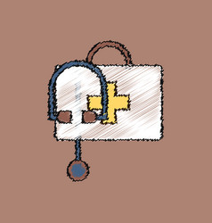 Flat shading style icon first aid bag vector
