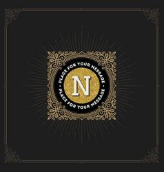flourishes glitter gold monogram logo vector image