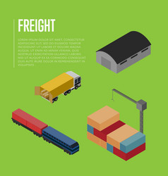 freight shipment isometric banner vector image