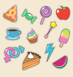 fruit pizza coffee and candy stickers vector image