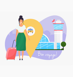 girl standing with travel bag holding passport vector image