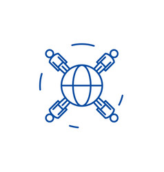 global business networking line icon concept vector image