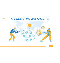 Global economic crisis due to covid19 landing page vector