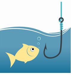 goldfish with fish hook fishing bait vector image