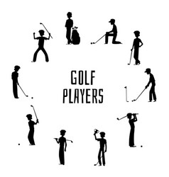 golf players and equipment silhouettes vector image