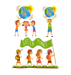 Green planet and kids save the planet ecology vector