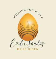 Greeting card with easter egg with ornament vector