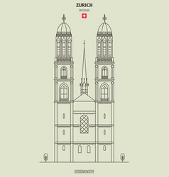 grossmunster church in zurich vector image