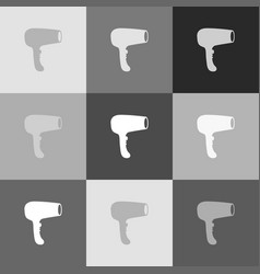 hair dryer sign grayscale version of vector image