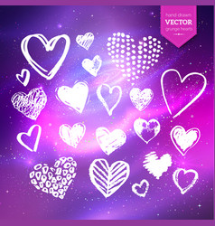 hand drawn white grunge hearts vector image