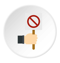 Hand holding stop sign icon circle vector