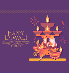 Happy diwali hindu holiday background for light vector