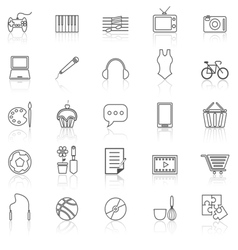Hobby line icons with reflect on white vector