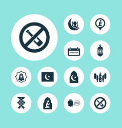 holiday icons set with forbidden ketupat beg and vector image