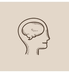 Human head with brain sketch icon vector image