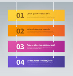 Infographic step banners color hanging labels vector