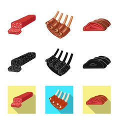 Isolated object of meat and ham icon collection vector