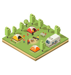 Isometric traveling camping concept vector