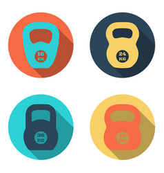 Kettlebell flat icons isolated on white background vector