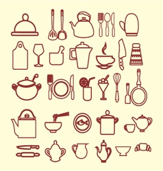 kitchen and restaurant icon kitchenware set vector image