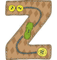 Letter z in patchwork style vector