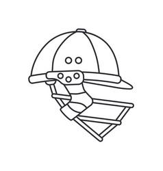 Line icon british cricket defense helmet vector