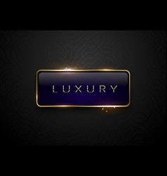 Luxury blue label with golden frame sparks on vector