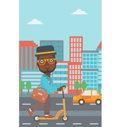 Man riding on scooter vector image