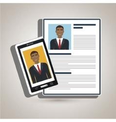 man smartphone find person cv vector image