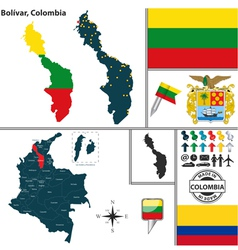 Map of Bolivar vector image