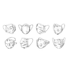 Medical mask hand drawn respiratory breathing vector
