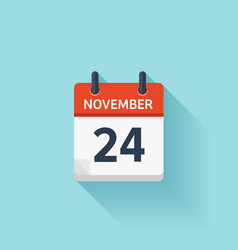 November 24 flat daily calendar icon vector image
