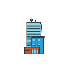 office business building line icon concept office vector image