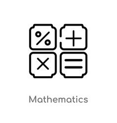 Outline mathematics icon isolated black simple vector