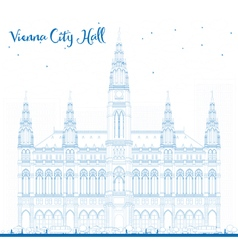 Outline Vienna City Hall in blue color vector