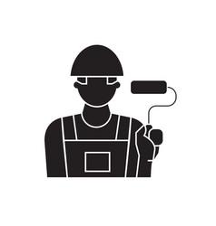 painter decorator black concept icon vector image