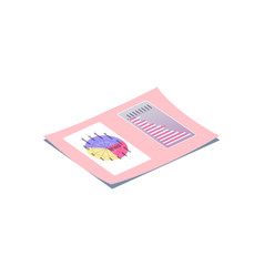 pink lying paper with calendar and chart vector image