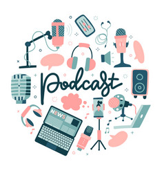 podcast round shape concept sound recording vector image