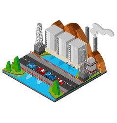 power station and bridge across the river vector image