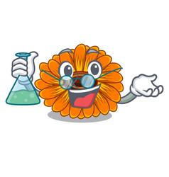 Professor calendula flowers in a cartoon basket vector