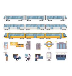 Public underground transport flat set vector