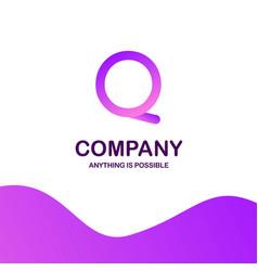 q company logo design with purple theme vector image