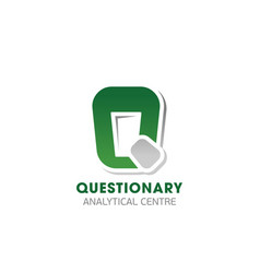 Questionary analytical center emblem vector