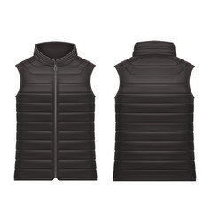 realistic or 3d black vest jacket with zap vector image