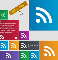 RSS feed icon sign Metro style buttons Modern vector