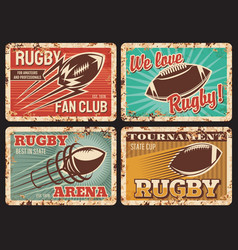 Rugby rusty metal plates vintage cards vector