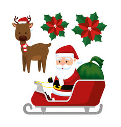 santa claus in the sled and deer to celebrate vector image