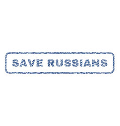 Save russians textile stamp vector